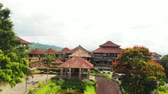 keşfetmek : Aerial drone video of abandoned hotel in Bedugul, Bali island.