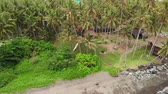 houpavý : BALI, INDONESIA - DECEMBER 29, 2018: Aerial view of couple swings on a tropical beach with black sand. Dostupné videozáznamy