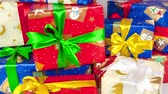 den : Stop motion of christmas gift boxes on white background Dostupné videozáznamy