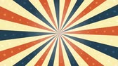 weathered : American Vintage Background Rotation Animation Animation of a looped vintage abstract and retro american patriotic poster, with sunbeams background, stars and stripes for fourth of july holiday