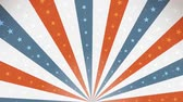 American Fourth Of July Background Rotation Loop Animation of an abstract vintage and retro american patriotic background, with sunbeams, stars and stripes for independence day celebration Stock Footage