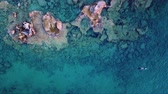 копье : Aerial Drone Footage of a spearfisher in the Mediterranean Sea (Top View)