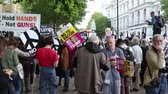 donald trump : London, 28th September 2017:- Protesters gather in Whitehall, opposite Downing Street, to protest the growing tensions between North Korea and the USA Stock Footage