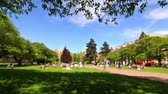 group : v5. Time lapse clip of campus pedestrian traffic. Stock Footage