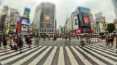 city lights : v20. City pedestrian traffic time lapse of Shibuya crosswalk in Tokyo. Stock Footage