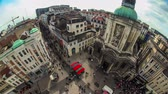 bruxelas : v40. City pedestrian traffic time lapse of busy Brussels shopping street and cityscape.