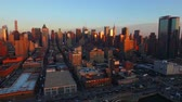 new york city : New York City Aerial v6 Panning right 340 degrees with view of all Manhattan and New Jersey at sunset.