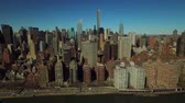 upper east side : New York City Aerial v46 Low flying panning right with view of Midtown East Manhattan cityscape. Stock Footage