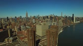 upper east side : New York City Aerial v51 Panning left with view of Midtown Manhattan cityscape. Stock Footage