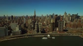 new york city : New York City Aerial v54 Flying backwards over East River with Midtown Manhattan cityscape view. Stock Footage