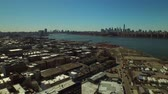 upper east side : New York City Aerial v60 Low flying backwards over Greenpoint area panning right with multiple cityscape views. Stock Footage