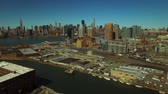 upper east side : New York City Aerial v61 Low flying towards Hunters Point and Midtown Manhattan with cityscape views. Stock Footage