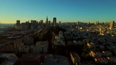 San Francisco Aerial v34 Flying low over Telegraph Hill at sunrise. Stock Footage