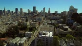 upscale : San Francisco Aerial v44 Flying low over Russian Hill neighborhood panning right. Stock Footage