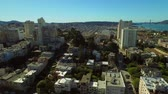 defne : San Francisco Aerial v48 Flying low backwards over Russian Hill with view of Lombard Street.