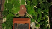 dorm : Ann Arbor Aerial v10 Flying vertical shot looking down over campus. Stock Footage