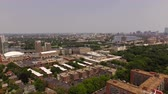 dorm : Boston Aerial v94 Flying over Longwood area panning right with multiple campus and cityscape views. Stock Footage