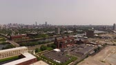 dorm : Boston Aerial v106 Flying low backwards over Harvard campus with cityscape views. Stock Footage