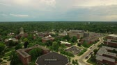 dorm : Ypsilanti Aerial v3 Flying low over University campus panning right.