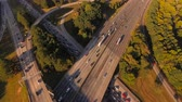 congestionamento : Atlanta Aerial v91 Flying low looking down over freeway junction panning.