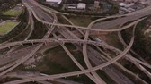 congestionamento : Atlanta Aerial v101 Flying over Spaghetti Junction freeways panning down.