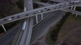 congestionamento : Atlanta Aerial v220 Flying low over Spaghetti Junction freeways panning.