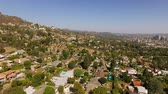 upscale : Glendale Aerial v5 Flying low backwards over luxury neighborhood in the hills. Stock Footage