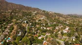 upscale : Glendale Aerial v6 Flying low over luxury neighborhood in the hills panning. Stock Footage
