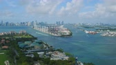 dodge : Miami Aerial v55 Flying low over Fisher Island panning with cityscape and South Beach views. Stock Footage