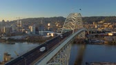 fremont : Portland Aerial v63 Flying low over Fremont Bridge panning with cityscape views at sunrise. Stock Footage