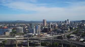 willamette : Portland Aerial v87 Flying over northwest area panning with cityscape views. Stock Footage
