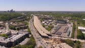 connector : Atlanta Aerial v285 Flying low around freeway bridge collapse with cityscape views 417