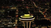 Сиэтл : Seattle Aerial v104 Closeup shot flying around Space Needle at night 417