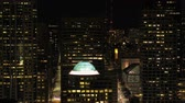 birdseye : Seattle Aerial v115 Closeup fying low shot across downtown area at night with cityscape views 417