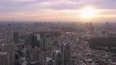 government district : Japan Tokyo Aerial v32 Flying across downtown Shinjuku with cityscape views sunrise 217
