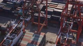 tilted : Japan Tokyo Aerial v39 Closeup birdseye view flying low over large container ship unloading 217