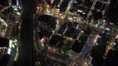 looking down : Japan Tokyo Aerial v79 Vertical birdseye view flying over famous Shinjuku area night 217