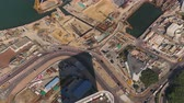 a major : Hong Kong Aerial v72 Birdseye view flying over waterfront construction area panning