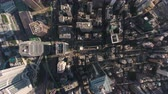 Центральный район : Hong Kong Aerial v78 Flying over Central District looking down vertically Стоковые видеозаписи