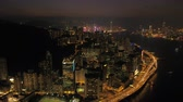 liman bölgesi : Hong Kong Aerial v82 Flying backwards over Quarry and Kowloon Bay with cityscape views at night 217
