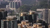 hillside : Hong Kong Aerial v113 Closeup birdseye view flying low around condominium complex buildings Stock Footage