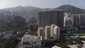 estanho : Hong Kong Aerial v115 Flying low panning over Sha Tin area with cityscape views Stock Footage