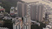 aberdeen : Hong Kong Aerial v152 Birdseye view flying low around condominium complex buildings