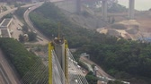 arasz : Hong Kong Aerial v160 Closeup birdseye view flying around Ting Kau Bridge pole tower