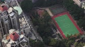 tilted : Hong Kong Aerial v178 Birdseye view flying over Tai Ping Shan area buildings streets cineflex look Stock Footage