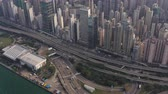 tchaj wan : Hong Kong Aerial v181 Birdseye view flying around Western Harbour Crossing tunnel entrance cityscape Dostupné videozáznamy