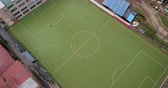 район : Aguas Calientes Peru Aerial v2 Flying low over soccer game looking down