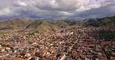 arkeolojik : Cusco Peru Aerial v5 Flying low over downtown panning Stok Video