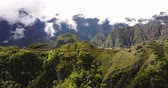 perdido : Machu Picchu Peru Aerial v8 Flying low around ancient ruins panning