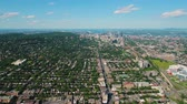 hillside : Montreal Quebec Aerial v4 Flying high panning with full cityscape views